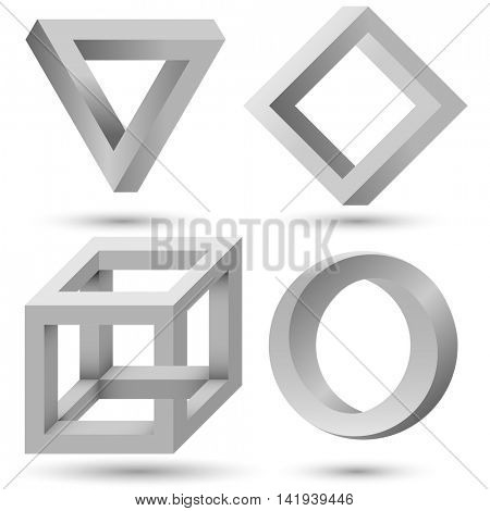 Shaded impossible geometric object set vector template. Impossible illusion triangle, cube, infinite loop and diamond isolated on white background. Can be used as logo, icon, sign or design element.