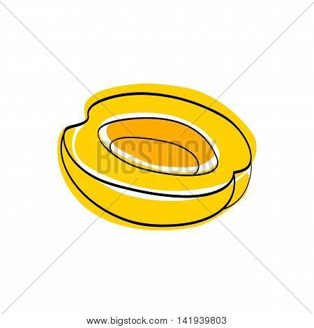 Vector illustration Yellow half apricot without seed