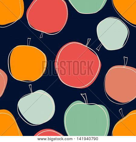 Apple vector seamless pattern on dark background