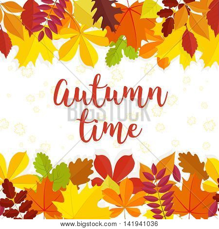 Autumn time lettering background. Autumn background with yellow red and green leaves.Vector illustration