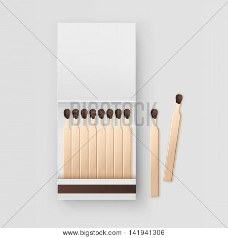 Vector Opened Blank Book Of Matches Top View Isolated on White Background