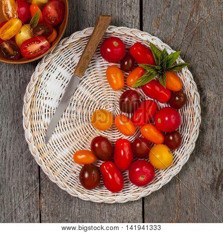 Small Cherry Tomato Mixed Medley. Selective focus.