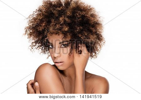 Beauty Closeup Portrait Of Girl With Afro.