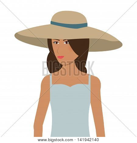 flat design woman with sunhat icon vector illustration