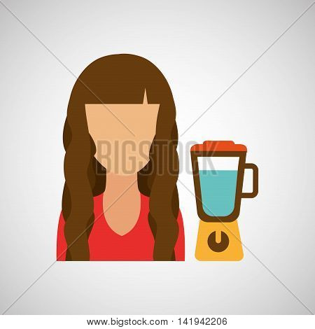 domestic girl with blender icon, vector illustration