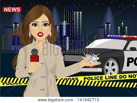 Female journalist reports news about accident in front of a police car