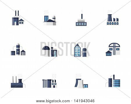 Blue industrial buildings, factories and plants. Architecture and constructions for industry - station, storage, refinery, pipelines and others. Set of flat color style vector icons.