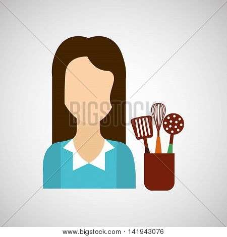 domestic girl with kitchen tools icon, vector illustration