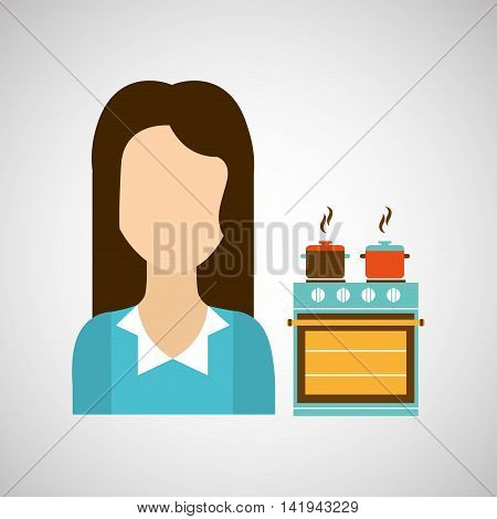 domestic girl with kitchen icon, vector illustration
