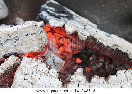 hot red facet fire wood that had not yet burned