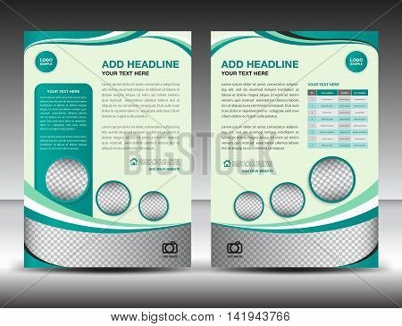 Green business brochure flyer design layout template in A4 size, poster, leaflet,ads, newsletter, book, cover, annual report, magazine, catalog