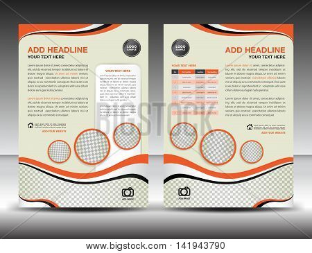Orange business brochure flyer design layout template in A4 size, poster, leaflet, ads, newsletter, cover ,annual report ,magazine ads, catalog, book