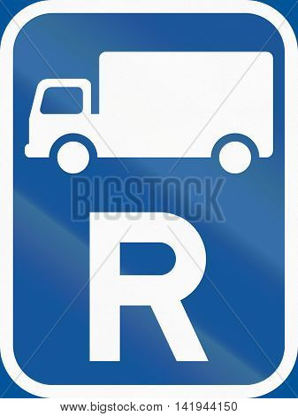 Road Sign Used In The African Country Of Botswana - Reservation For Goods Vehicles