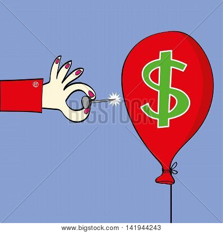 Female hand holding a sharp pin about to burst a red balloon with a dollar sign on it as a metaphor for the strength of the USA currency
