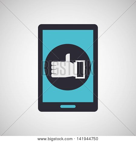smarphone device with thumb up icon, vector illustration