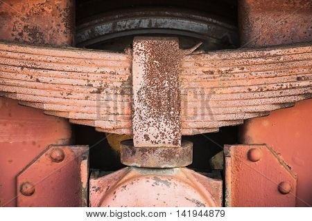 Red Rusted Leaf Spring Of Industrial Railway Carriage
