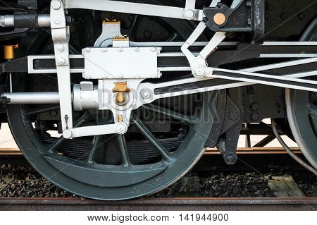 Wheels Of Steam Train With The Power Parts