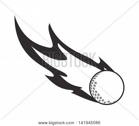 flat design golf ball in flames icon vector illustration
