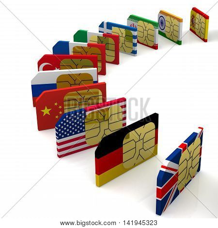 SIM-card of the various states. SIM card with the image of flags of States. Isolated. 3D Illustration