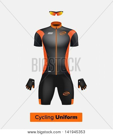 Realistic vector cycling uniform template. Black and orange. Branding mockup. Bike or Bicycle clothing and equipment. Special kit: short sleeve jersey gloves and sun glasses. Front view.