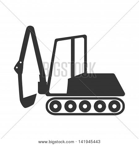 Backhoe construction machinary, isolated flat icon design