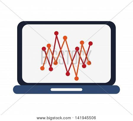 flat design laptop frontview with graph icon vector illustration