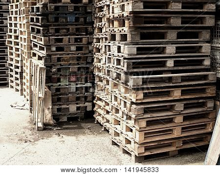 Outside Stock Of Old Manufactured Wooden Standard Euro Pallets