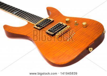 Orange Electric Guitar Isolated on White Background