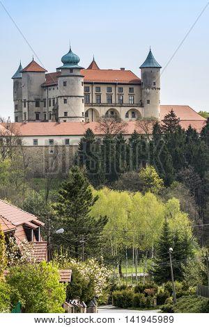 View of Nowy Wisnicz castle Poland .