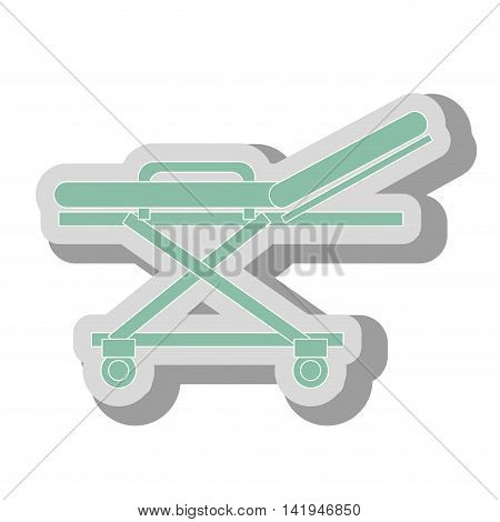 blue medical stretcher, isolated flat icon design