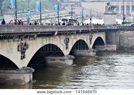 PARIS FRANCE - JUNE 8: Level of Seine river dropped to normal after a week of floods on June 8 2016 in Paris.