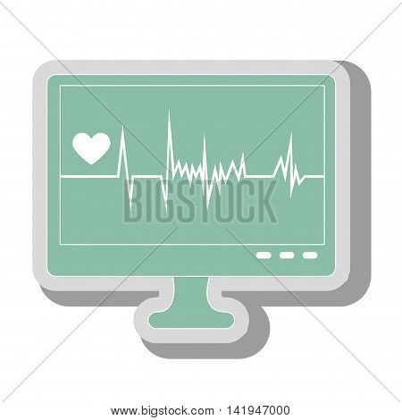 waves cardiology machine, isolated flat icon design