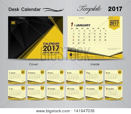 set yellow Desk Calendar 2017 template design, cover Desk Calendar, flyer design