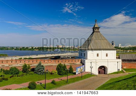 Kazan, Russia - June 11, 2016: the Taynitskaya tower of the Kazan Kremlin in the June 11, 2016, Kazan, Russia.