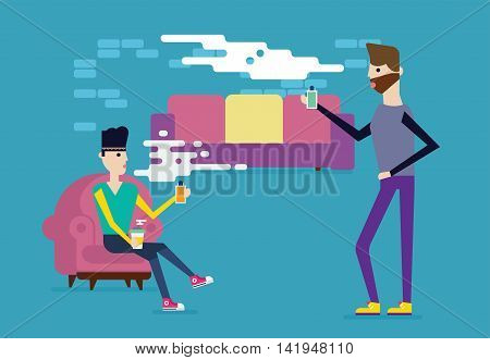 Men vapers characters in the loft room smoking electronic sigarettes and talking. Modern art great vapers illustreation good colors. Vector flat design.