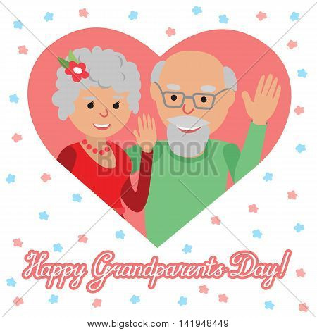 Couple of elderly people. Grandmother and grandfather. Vector illustration for greeting.