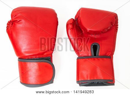 Pair Of Red Boxing Gloves Isolated On White Background.