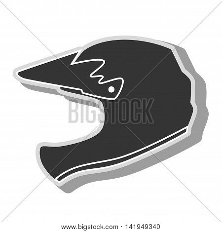 helmet motocross silhouette isolated flat icon design