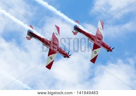Melbourne, Australia - January 26 - The famous Red Arrows fly to celebrate Australia Day in Melbourne, Victoria, Australia
