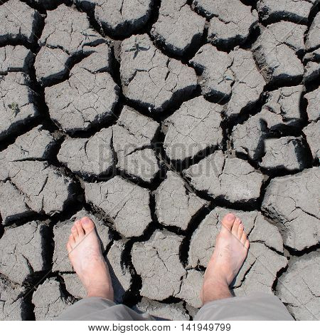 walking feet cracked Drought real photo climate