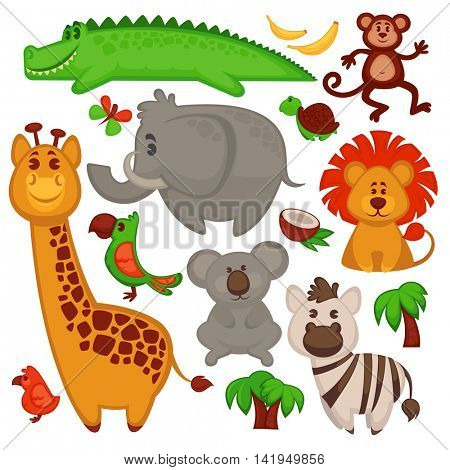 Vector Set Of Different cute African Animals. Vector Illustration.