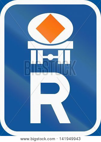 Road Sign Used In The African Country Of Botswana - Reservation For Vehicles Transporting Dangerous
