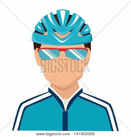 cyclist sunglasses helmet isolated flat icon design