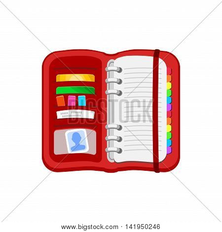 Open red spiral diary, notebook or personal organizer. Notepad with photos, cards, stickers, checks, bookmark. Vector icon isolated on a white background. Flat design.