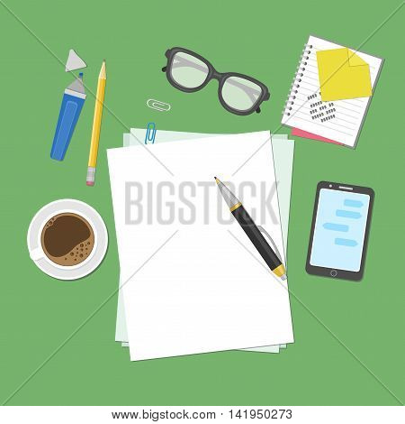 Blank sheets of paper on the desktop. View from above of blank sheets of paper, pen, pencil, marker, smart phone, a notebook, stickers, glasses, coffee cup. Preparation for work, notes or sketches.