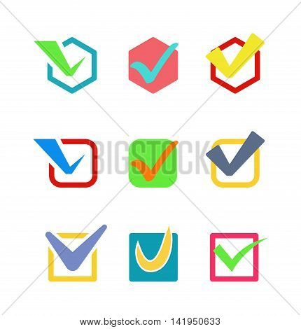 Check box vector icon button isolated. Check vote icon mark sign choice yes symbol. Correct design check icon mark right agreement voting form. Button question choose success graphic.