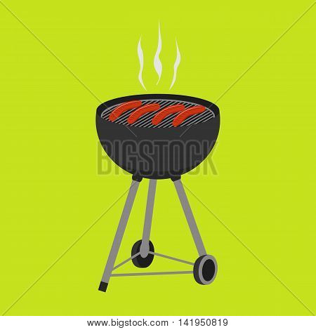 Barbecue grill food isolated on green background. Smoky grilled sausages. BBQ icon vector for party invitation banner flyer template or menu design.