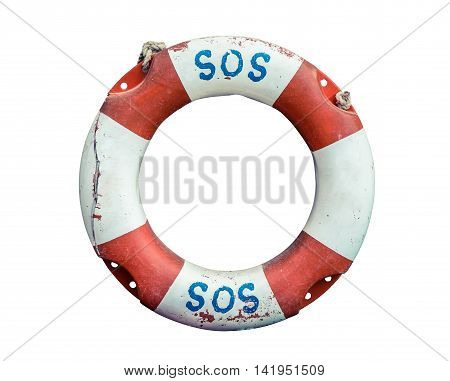 SOS Handwritten On A Rustic Old Lifebuoy