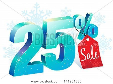 Winter Shopping 25 Percent Off Sale Discount Ice Sign with Price Tag