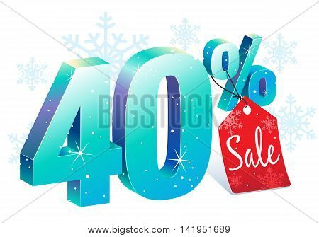 Winter Shopping 40 Percent Off Sale Discount Ice Sign with Price Tag